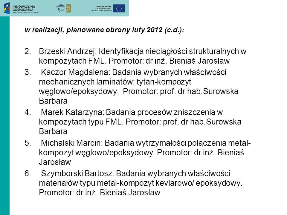 w realizacji, planowane obrony luty 2012 (c.d.): 2.Brzeski Andrzej: Identyfikacja nieciągłości strukturalnych w kompozytach FML. Promotor: dr inż. Bie