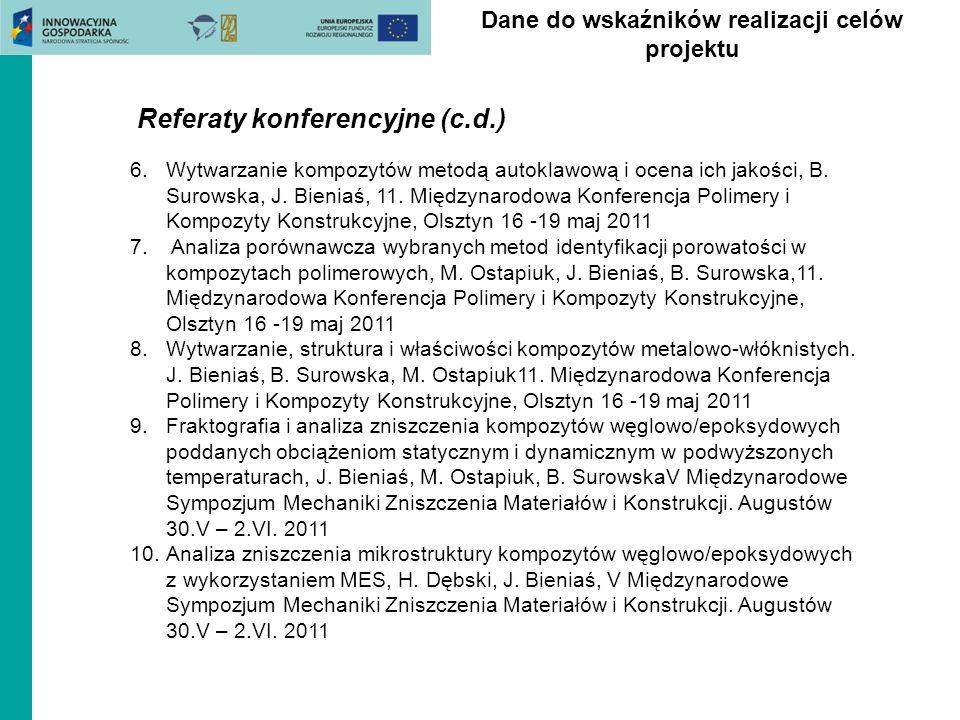 Dane do wskaźników realizacji celów projektu Referaty konferencyjne (c.d.) 6.Wytwarzanie kompozytów metodą autoklawową i ocena ich jakości, B. Surowsk