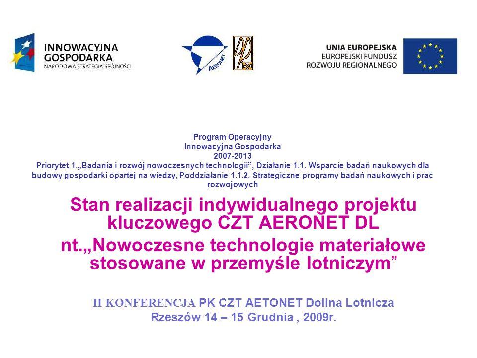 Stan realizacji indywidualnego projektu kluczowego CZT AERONET DL nt.Nowoczesne technologie materiałowe stosowane w przemyśle lotniczym II KONFERENCJA