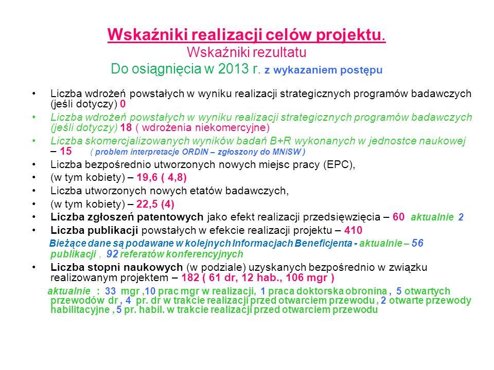 Wskaźniki realizacji celów projektu. Wskaźniki rezultatu Do osiągnięcia w 2013 r. z wykazaniem postępu Liczba wdrożeń powstałych w wyniku realizacji s
