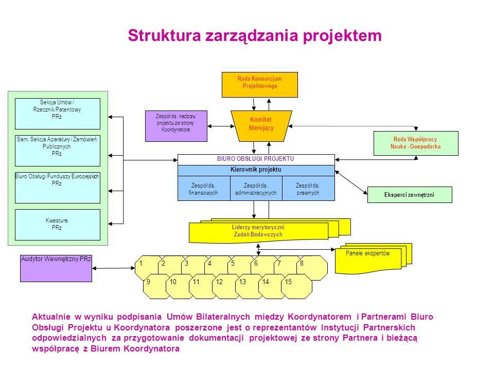 Struktura zarządzania projektem 123 45 678 9 10 11 12 1314 15 Liderzy merytoryczni Zadań Badawczych Rada Współpracy Nauka - Gospodarka Panele ekspertó