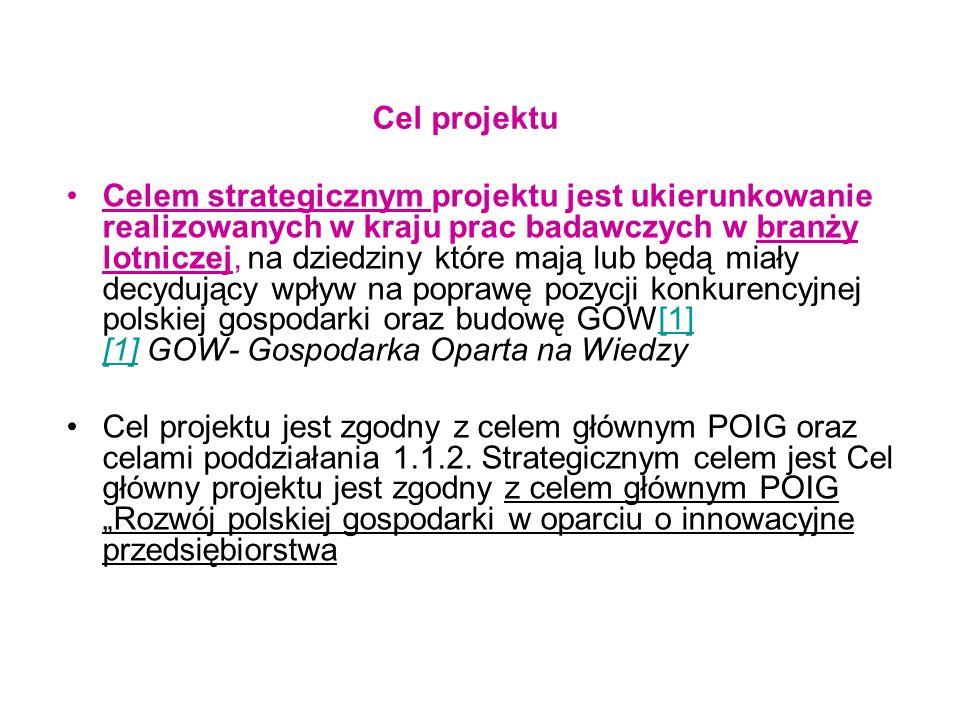 Cele szczegółowe zwiększenie stopnia wykorzystywania w praktyce gospodarczej wyników prac badawczo-rozwojowych prowadzonych w polskich jednostkach naukowych; zwiększenie podaży nowych, innowacyjnych rozwiązań przydatnych gospodarce; zwiększenie efektywności wykorzystania projektów celowych dla realizacji strategicznych celów przedsiębiorstw; integracja środowiska naukowego i przemysłowego na poziomie narodowym w dziedzinie wykorzystania technologii inteligentnych w lotnictwie; wykreowanie grupy nowych innowacyjnych rozwiązań technicznych tworzących polską specjalność w ww.