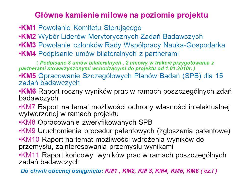 Główne kamienie milowe na poziomie projektu KM1 Powołanie Komitetu Sterującego KM2 Wybór Liderów Merytorycznych Zadań Badawczych KM3 Powołanie członkó
