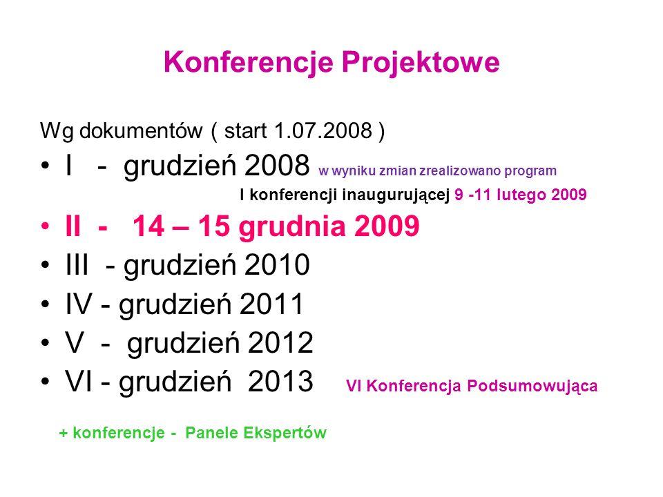 Konferencje Projektowe Wg dokumentów ( start 1.07.2008 ) I - grudzień 2008 w wyniku zmian zrealizowano program I konferencji inaugurującej 9 -11 luteg