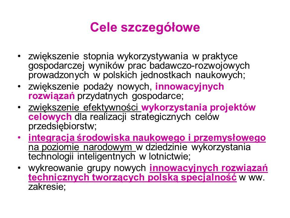Cele szczegółowe zwiększenie stopnia wykorzystywania w praktyce gospodarczej wyników prac badawczo-rozwojowych prowadzonych w polskich jednostkach nau