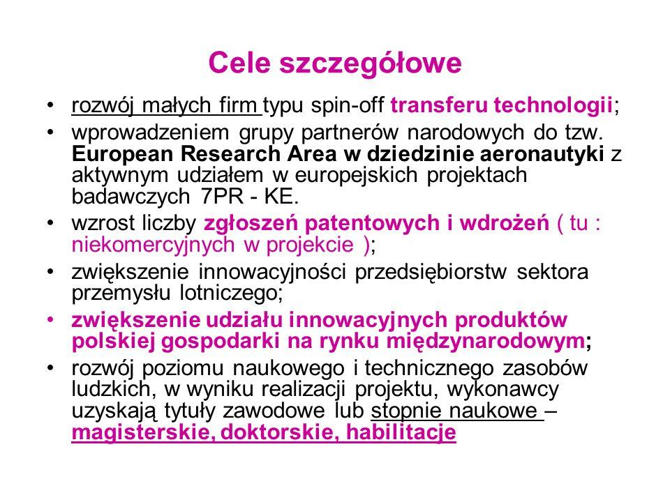 Cele szczegółowe rozwój małych firm typu spin-off transferu technologii; wprowadzeniem grupy partnerów narodowych do tzw. European Research Area w dzi