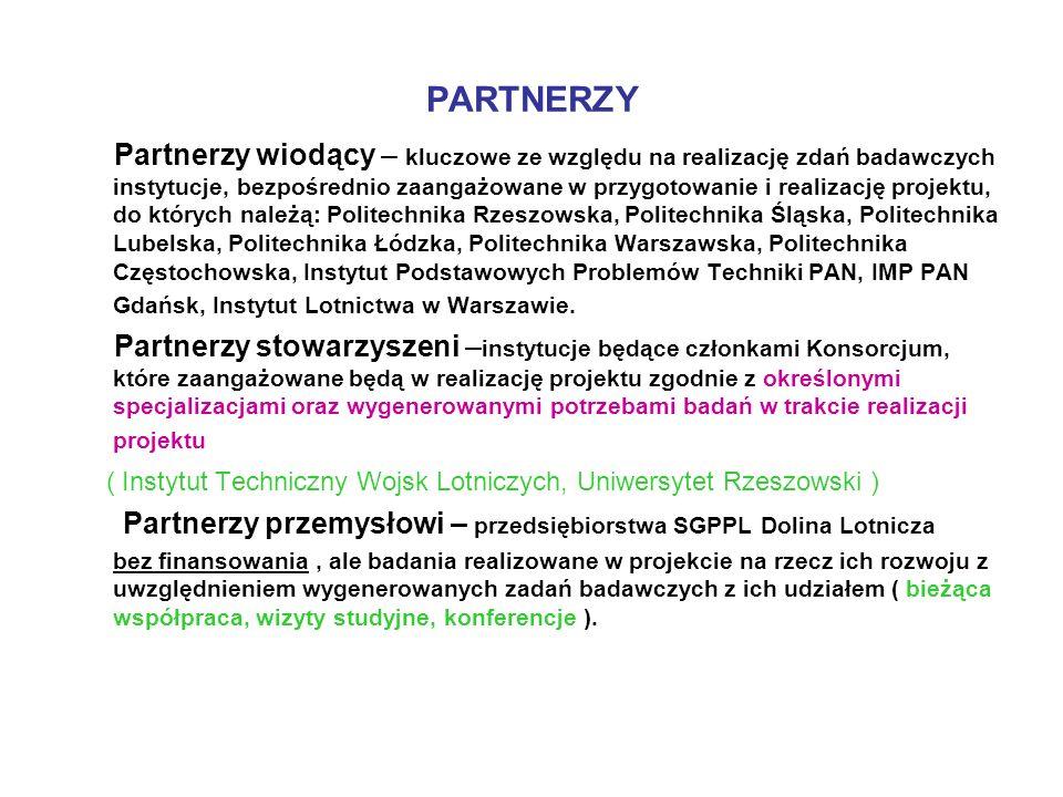 PARTNERZY Partnerzy wiodący – kluczowe ze względu na realizację zdań badawczych instytucje, bezpośrednio zaangażowane w przygotowanie i realizację pro