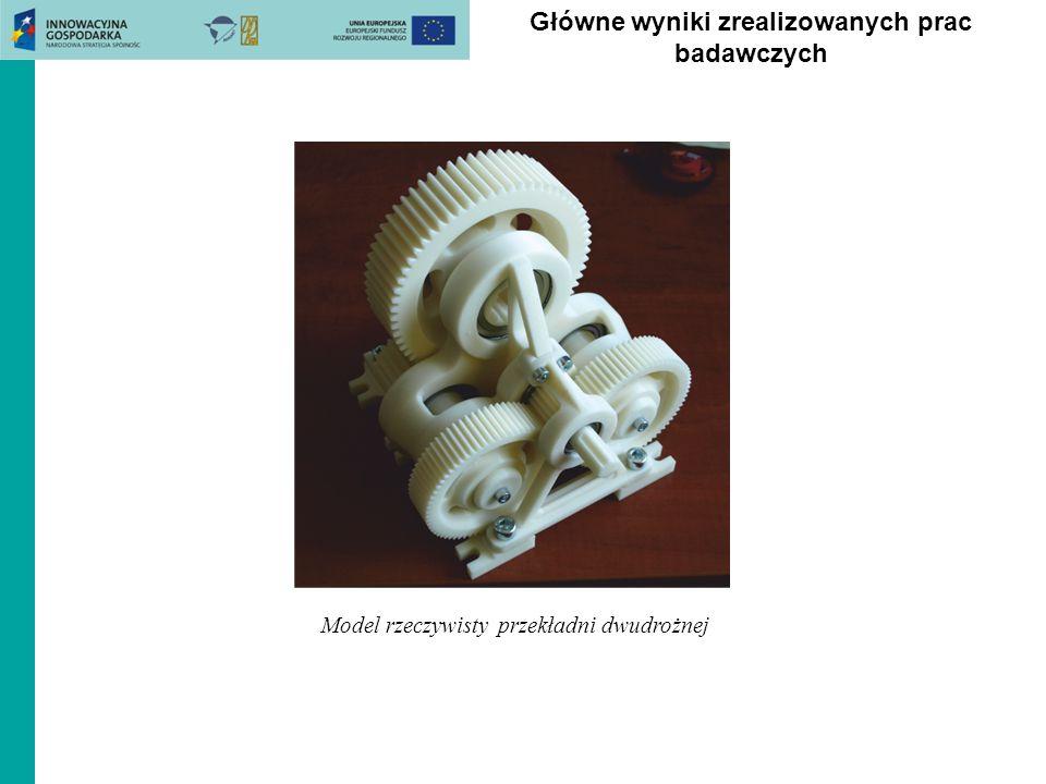 Główne wyniki zrealizowanych prac badawczych Model rzeczywisty przekładni dwudrożnej