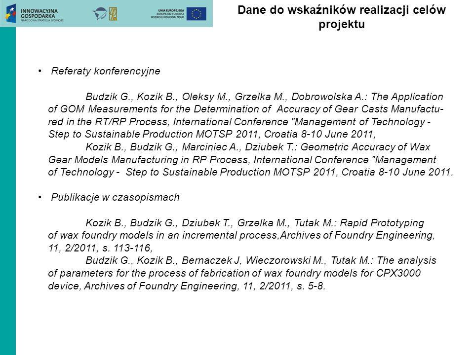 Referaty konferencyjne Budzik G., Kozik B., Oleksy M., Grzelka M., Dobrowolska A.: The Application of GOM Measurements for the Determination of Accura