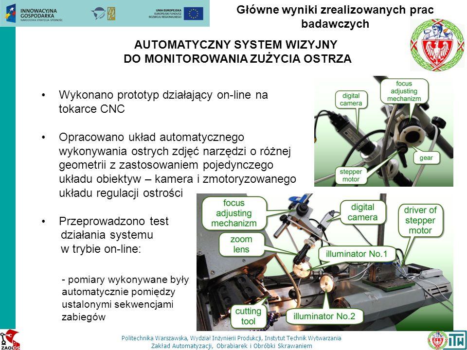 Politechnika Warszawska, Wydział Inżynierii Produkcji, Instytut Technik Wytwarzania Zakład Automatyzacji, Obrabiarek i Obróbki Skrawaniem Główne wynik