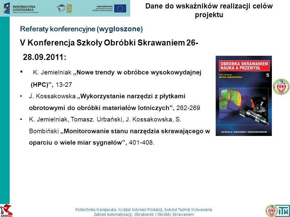 Politechnika Warszawska, Wydział Inżynierii Produkcji, Instytut Technik Wytwarzania Zakład Automatyzacji, Obrabiarek i Obróbki Skrawaniem Dane do wska