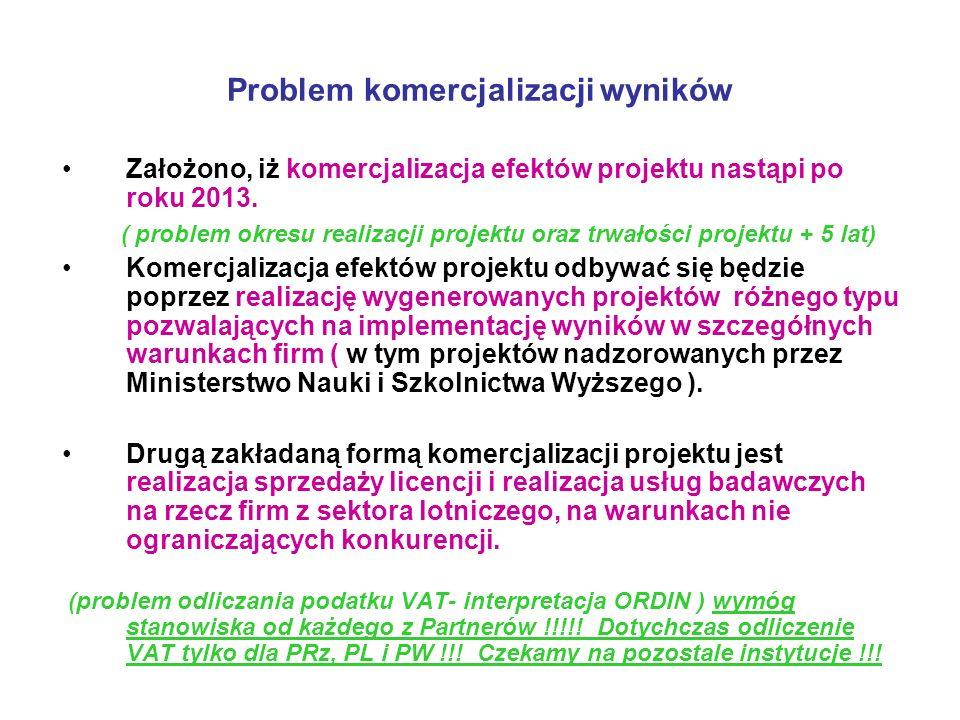 Problem komercjalizacji wyników Założono, iż komercjalizacja efektów projektu nastąpi po roku 2013. ( problem okresu realizacji projektu oraz trwałośc