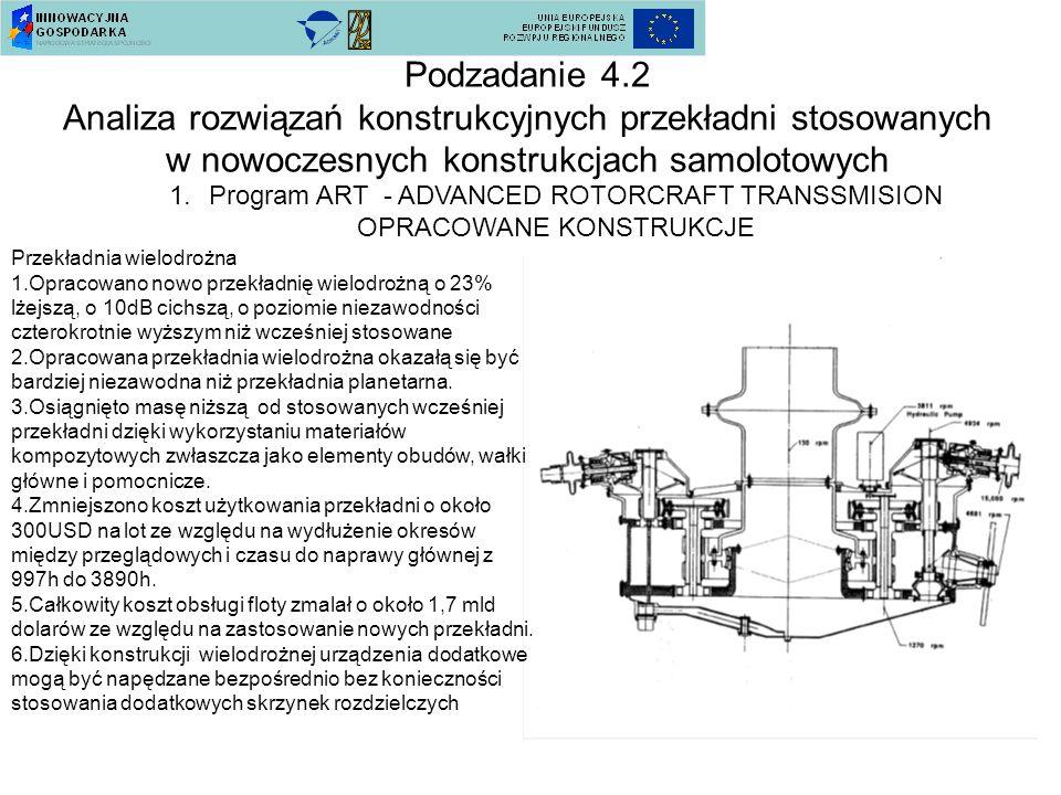 Podzadanie 4.2 Analiza rozwiązań konstrukcyjnych przekładni stosowanych w nowoczesnych konstrukcjach samolotowych 1.Program ART - ADVANCED ROTORCRAFT