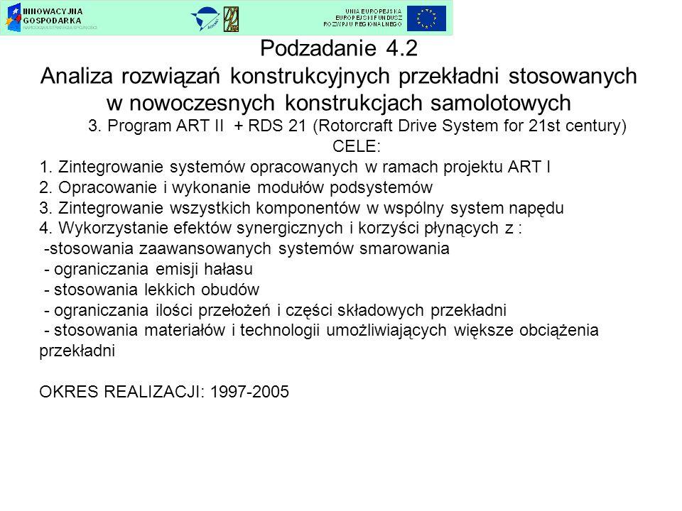 Podzadanie 4.2 Analiza rozwiązań konstrukcyjnych przekładni stosowanych w nowoczesnych konstrukcjach samolotowych 3. Program ART II + RDS 21 (Rotorcra