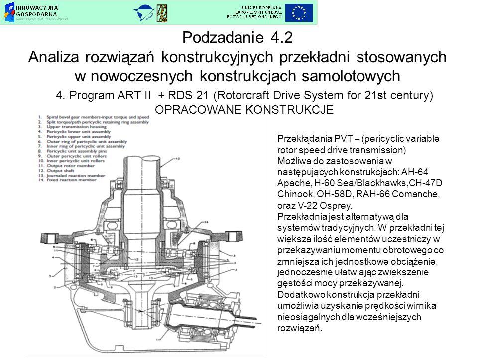 4. Program ART II + RDS 21 (Rotorcraft Drive System for 21st century) OPRACOWANE KONSTRUKCJE Podzadanie 4.2 Analiza rozwiązań konstrukcyjnych przekład
