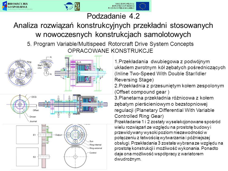 5. Program Variable/Multispeed Rotorcraft Drive System Concepts OPRACOWANE KONSTRUKCJE Podzadanie 4.2 Analiza rozwiązań konstrukcyjnych przekładni sto
