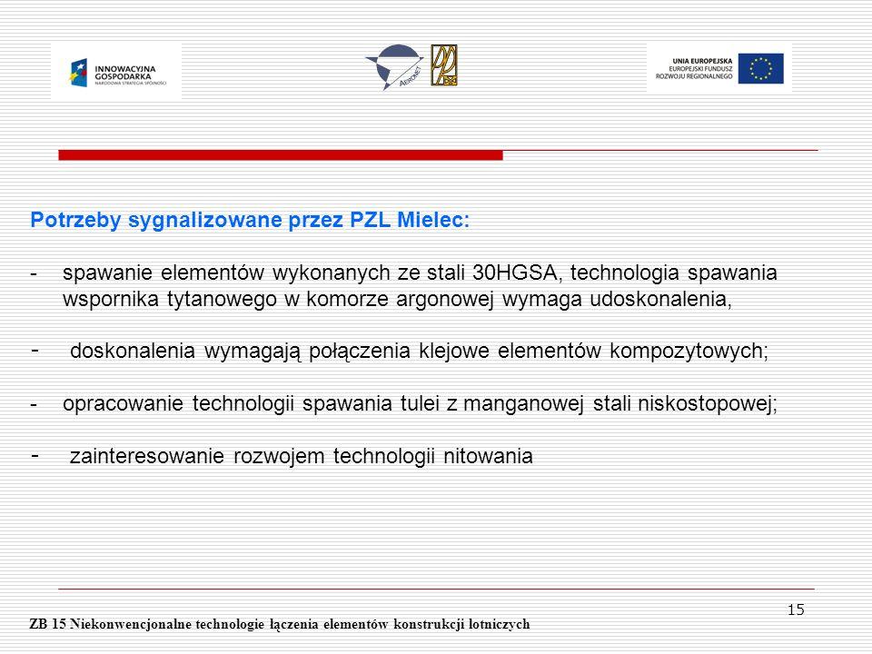 15 ZB 15 Niekonwencjonalne technologie łączenia elementów konstrukcji lotniczych Potrzeby sygnalizowane przez PZL Mielec: -spawanie elementów wykonany