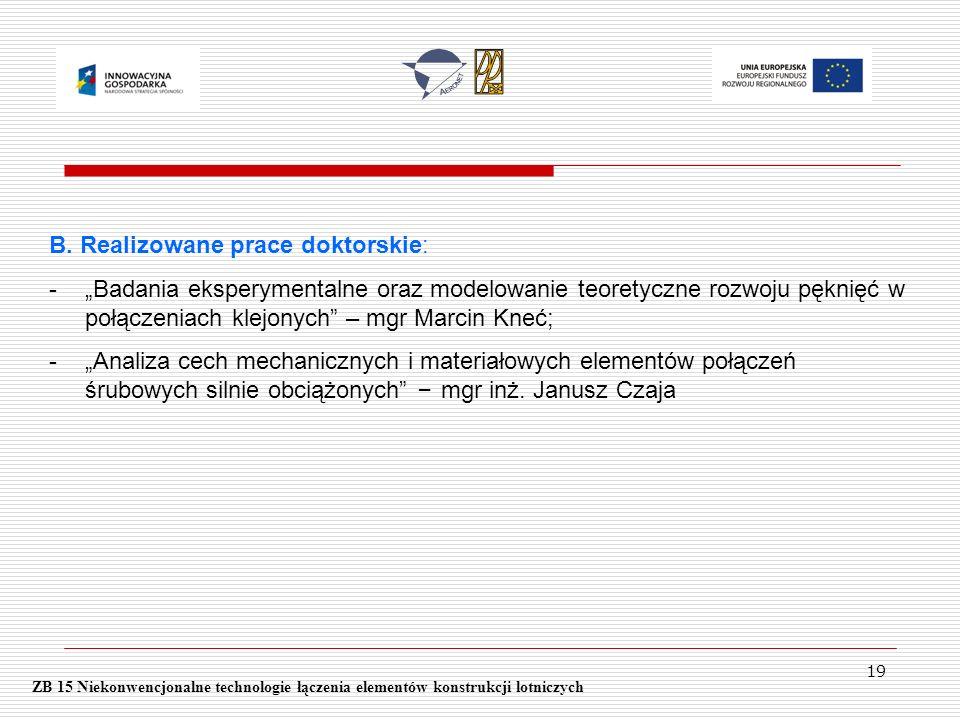 19 ZB 15 Niekonwencjonalne technologie łączenia elementów konstrukcji lotniczych B. Realizowane prace doktorskie: -Badania eksperymentalne oraz modelo