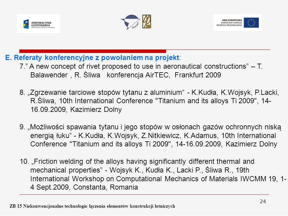 24 ZB 15 Niekonwencjonalne technologie łączenia elementów konstrukcji lotniczych E. Referaty konferencyjne z powołaniem na projekt: 7. A new concept o