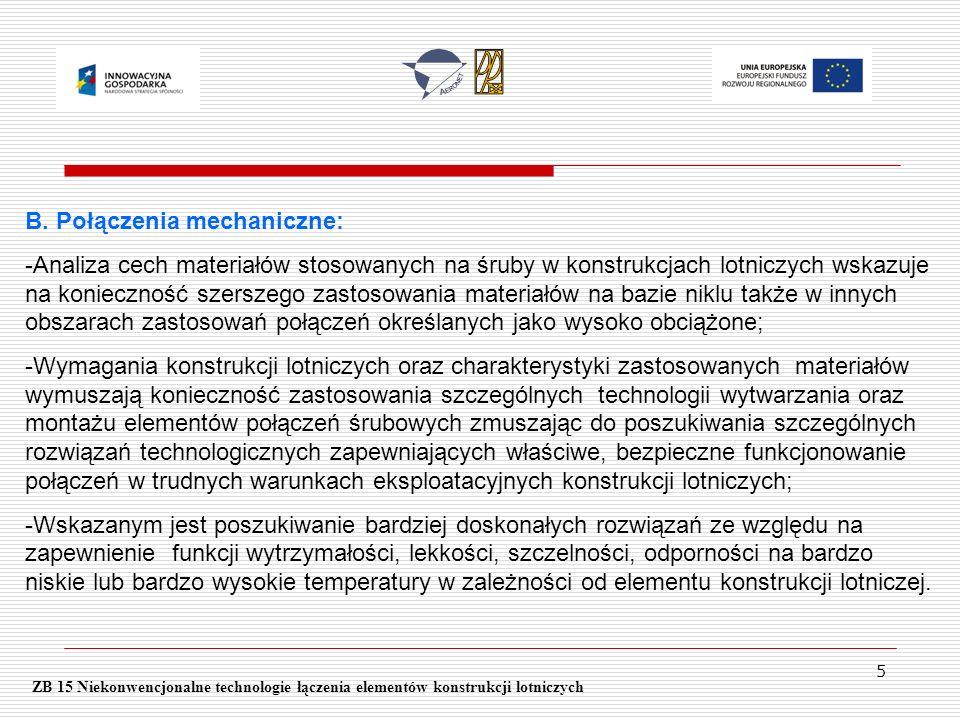 5 ZB 15 Niekonwencjonalne technologie łączenia elementów konstrukcji lotniczych B. Połączenia mechaniczne: -Analiza cech materiałów stosowanych na śru