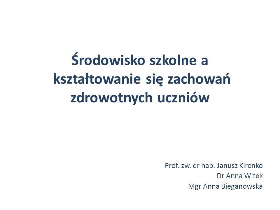Środowisko szkolne a kształtowanie się zachowań zdrowotnych uczniów Prof. zw. dr hab. Janusz Kirenko Dr Anna Witek Mgr Anna Bieganowska