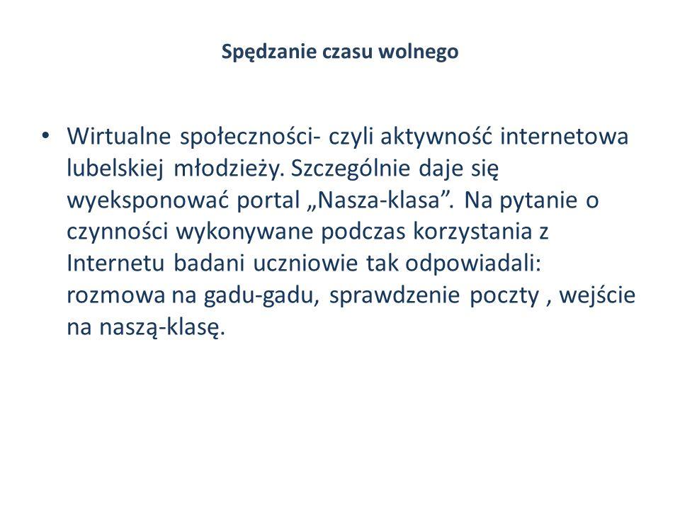Spędzanie czasu wolnego Wirtualne społeczności- czyli aktywność internetowa lubelskiej młodzieży. Szczególnie daje się wyeksponować portal Nasza-klasa