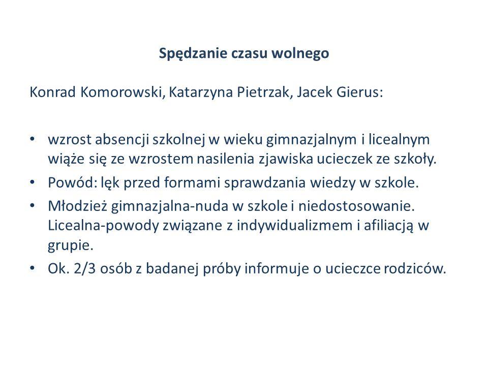 Spędzanie czasu wolnego Konrad Komorowski, Katarzyna Pietrzak, Jacek Gierus: wzrost absencji szkolnej w wieku gimnazjalnym i licealnym wiąże się ze wz
