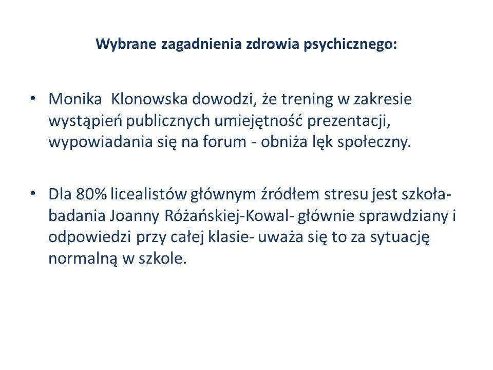 Wybrane zagadnienia zdrowia psychicznego: Monika Klonowska dowodzi, że trening w zakresie wystąpień publicznych umiejętność prezentacji, wypowiadania