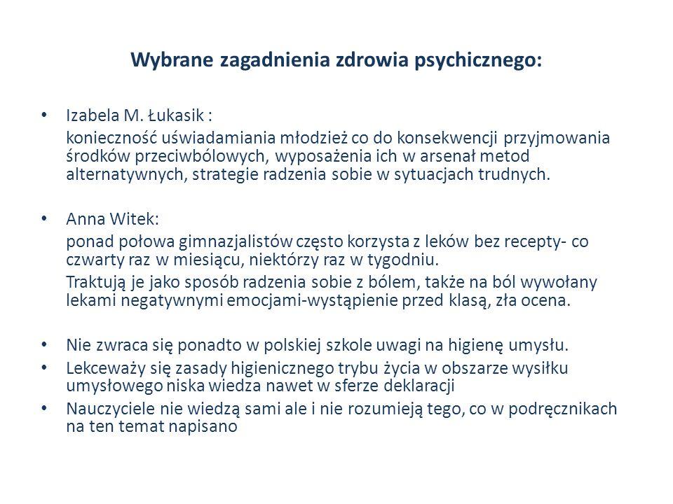 Wybrane zagadnienia zdrowia psychicznego: Izabela M. Łukasik : konieczność uświadamiania młodzież co do konsekwencji przyjmowania środków przeciwbólow