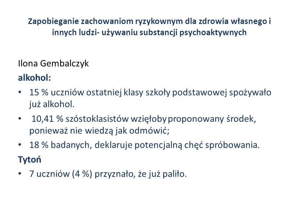 Zapobieganie zachowaniom ryzykownym dla zdrowia własnego i innych ludzi- używaniu substancji psychoaktywnych Ilona Gembalczyk alkohol: 15 % uczniów os