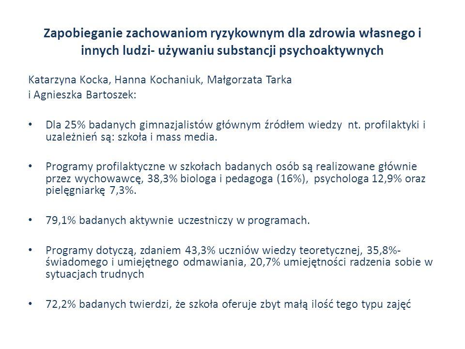 Zapobieganie zachowaniom ryzykownym dla zdrowia własnego i innych ludzi- używaniu substancji psychoaktywnych Katarzyna Kocka, Hanna Kochaniuk, Małgorz