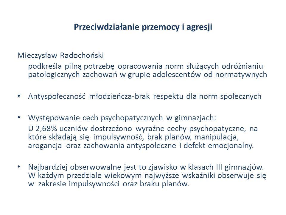 Przeciwdziałanie przemocy i agresji Mieczysław Radochoński podkreśla pilną potrzebę opracowania norm służących odróżnianiu patologicznych zachowań w g