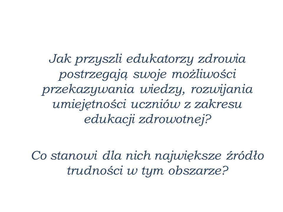Obszary edukacji zdrowotnej wg B.Woynarowskiej: 1.