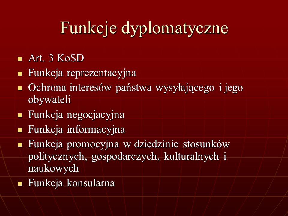 Funkcje dyplomatyczne Art. 3 KoSD Art. 3 KoSD Funkcja reprezentacyjna Funkcja reprezentacyjna Ochrona interesów państwa wysyłającego i jego obywateli