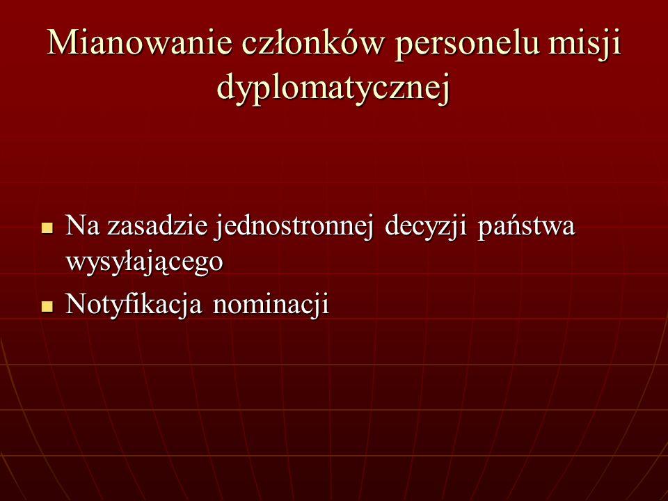 Mianowanie członków personelu misji dyplomatycznej Na zasadzie jednostronnej decyzji państwa wysyłającego Na zasadzie jednostronnej decyzji państwa wy