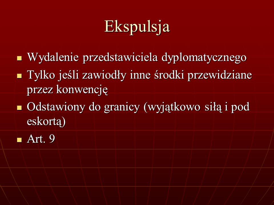 Ekspulsja Wydalenie przedstawiciela dyplomatycznego Wydalenie przedstawiciela dyplomatycznego Tylko jeśli zawiodły inne środki przewidziane przez konw