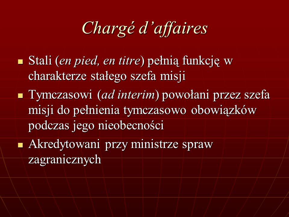 Chargé daffaires Stali (en pied, en titre) pełnią funkcję w charakterze stałego szefa misji Stali (en pied, en titre) pełnią funkcję w charakterze sta