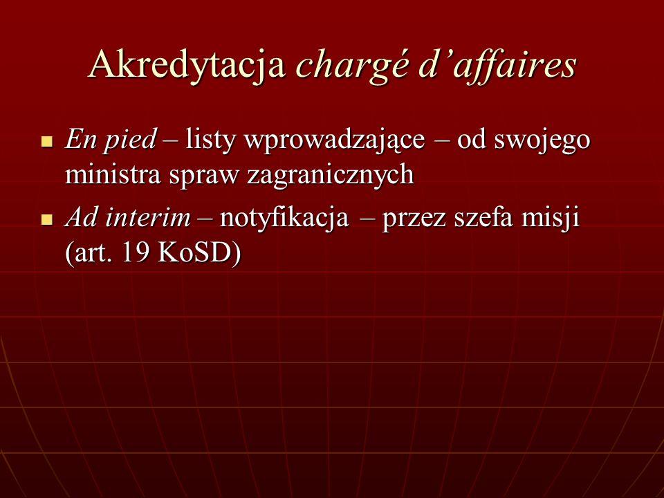 Akredytacja chargé daffaires En pied – listy wprowadzające – od swojego ministra spraw zagranicznych En pied – listy wprowadzające – od swojego minist