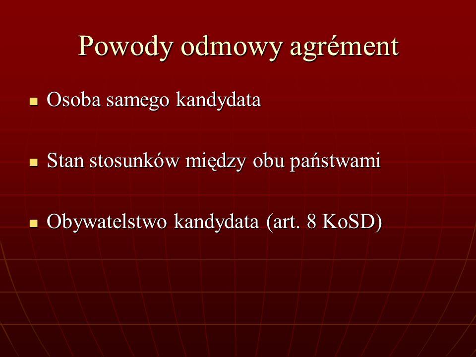 Powody odmowy agrément Osoba samego kandydata Osoba samego kandydata Stan stosunków między obu państwami Stan stosunków między obu państwami Obywatels