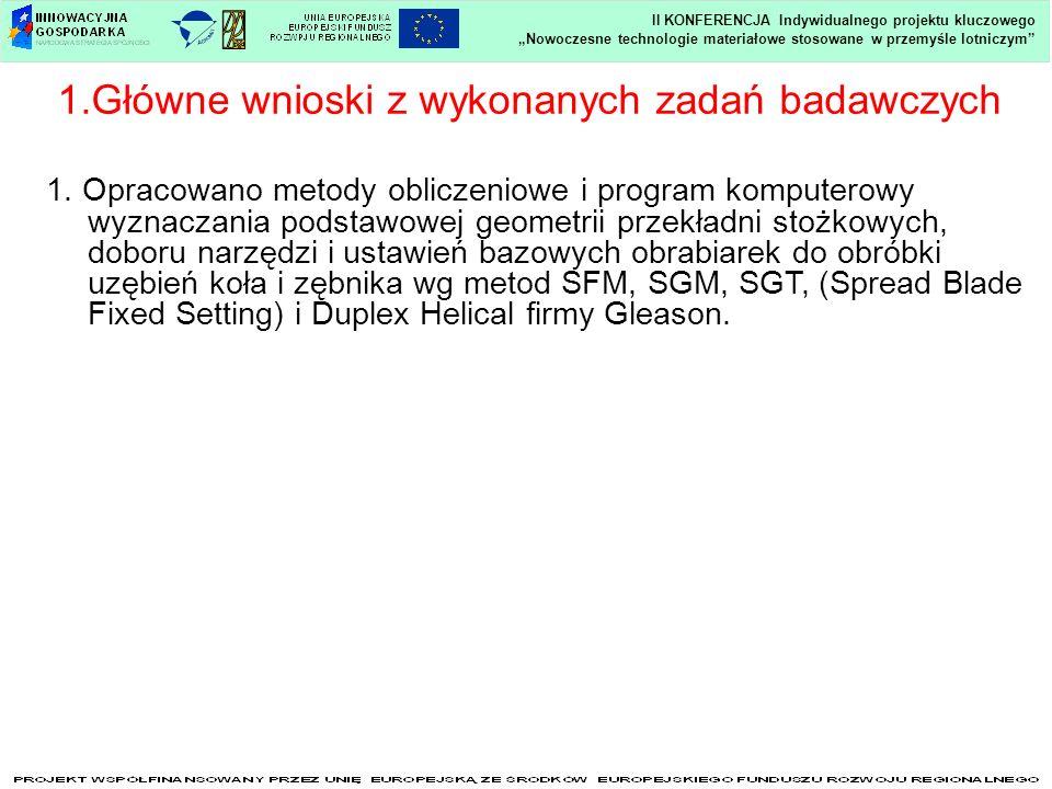 1.Główne wnioski z wykonanych zadań badawczych Nowoczesne technologie materiałowe stosowane w przemyśle lotniczym II KONFERENCJA Indywidualnego projek