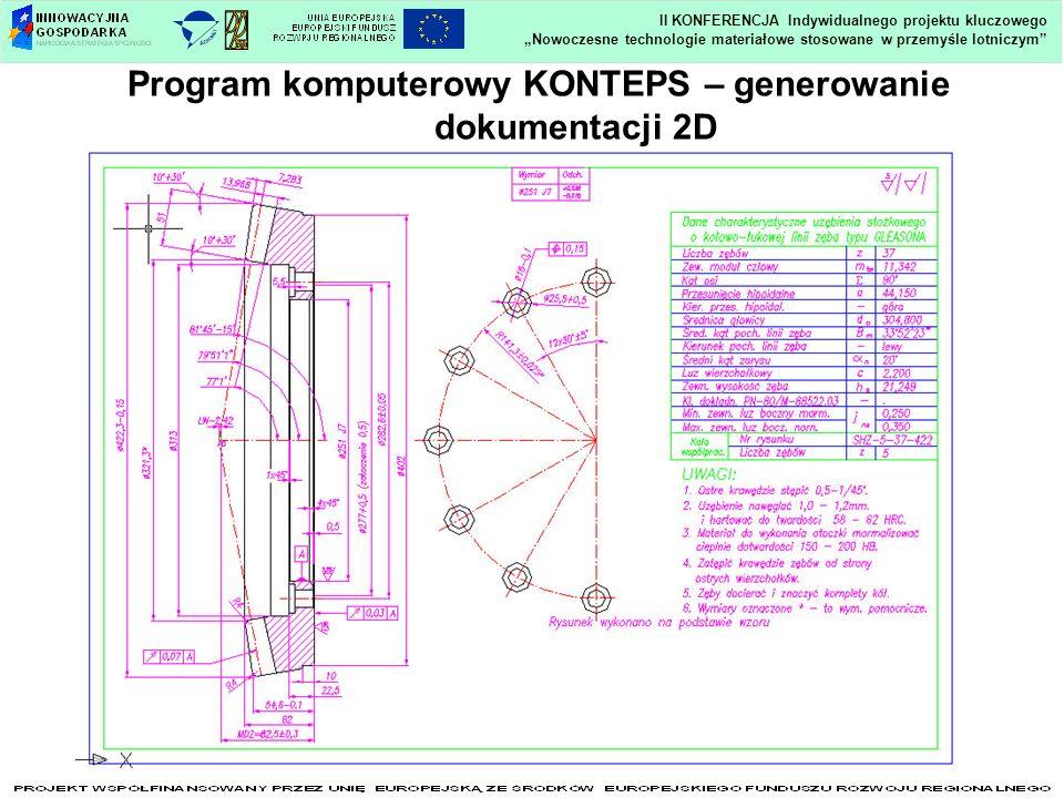 Nowoczesne technologie materiałowe stosowane w przemyśle lotniczym II KONFERENCJA Indywidualnego projektu kluczowego Program komputerowy KONTEPS – generowanie dokumentacji 2D