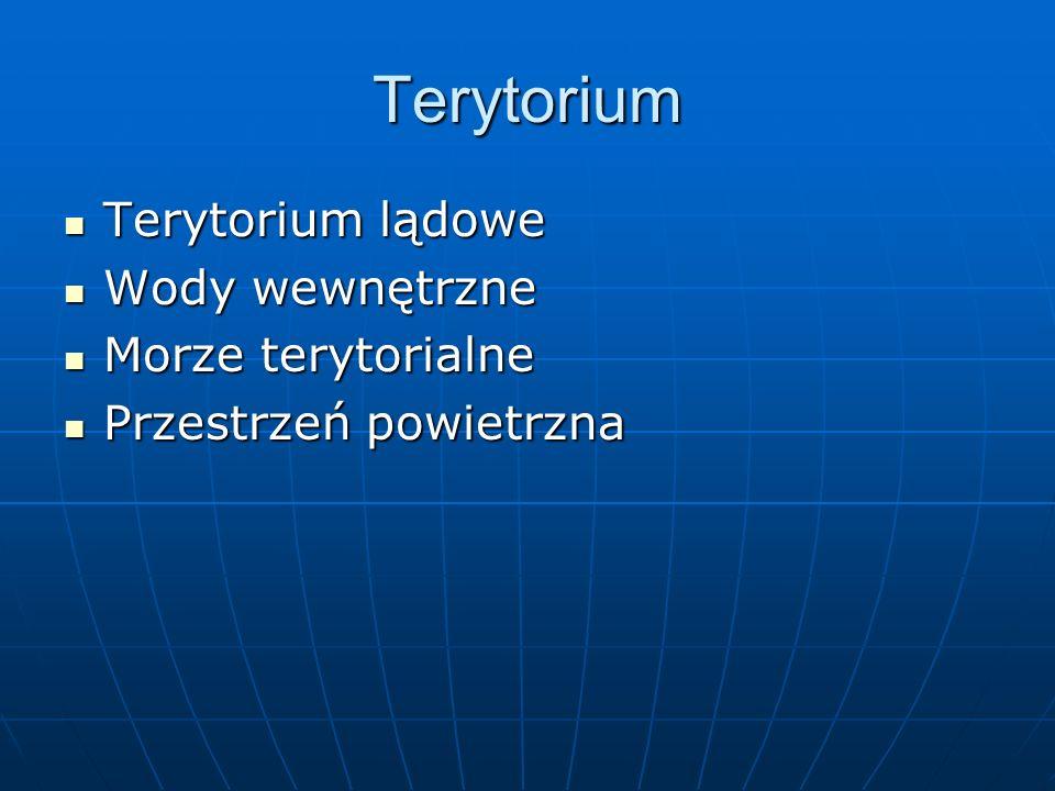 Terytorium Terytorium lądowe Terytorium lądowe Wody wewnętrzne Wody wewnętrzne Morze terytorialne Morze terytorialne Przestrzeń powietrzna Przestrzeń