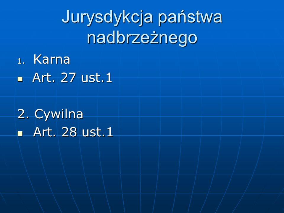 Jurysdykcja państwa nadbrzeżnego 1. Karna Art. 27 ust.1 Art. 27 ust.1 2. Cywilna Art. 28 ust.1 Art. 28 ust.1