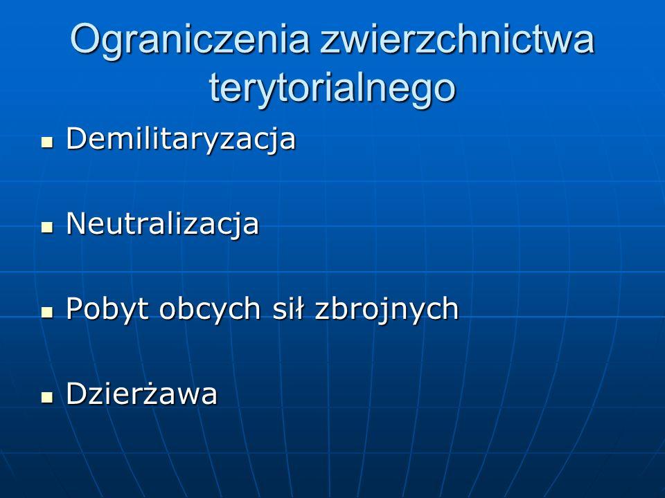 Nabycie terytorium Pierwotne i pochodne Pierwotne i pochodne 1) Zawłaszczenie/okupacja 2) Przyrost 3) Cesja (odpłatna, wzajemna, plebiscytarna) 4) Adiudykacja 5) Zasiedzenie