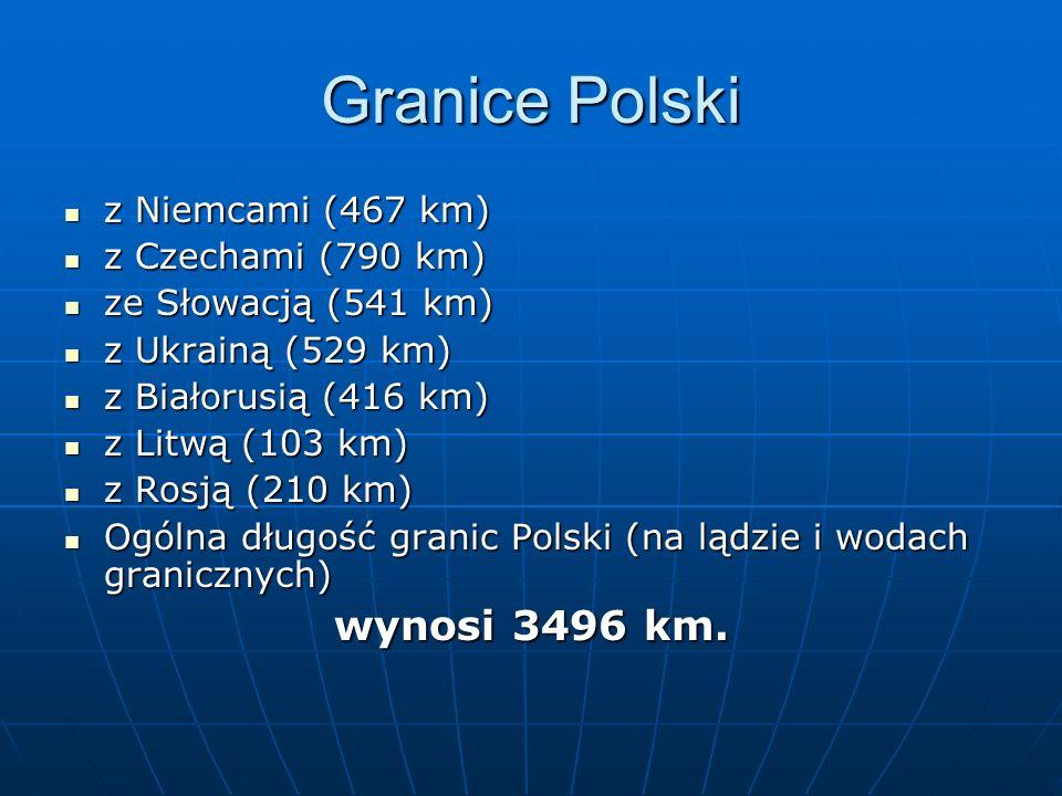 Granice Polski z Niemcami (467 km) z Niemcami (467 km) z Czechami (790 km) z Czechami (790 km) ze Słowacją (541 km) ze Słowacją (541 km) z Ukrainą (52
