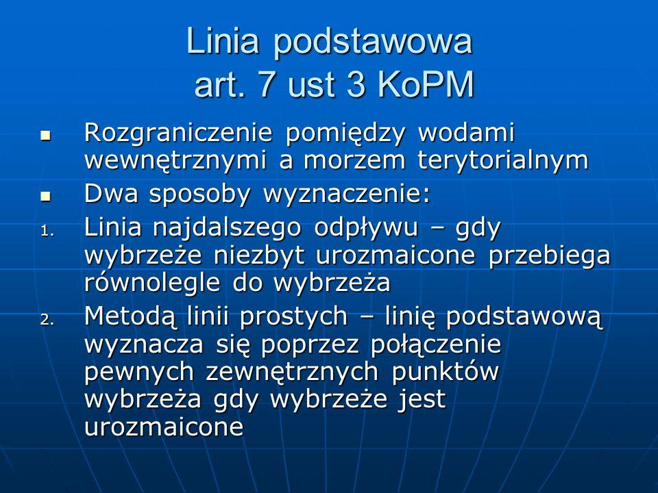 Linia podstawowa art. 7 ust 3 KoPM Rozgraniczenie pomiędzy wodami wewnętrznymi a morzem terytorialnym Rozgraniczenie pomiędzy wodami wewnętrznymi a mo