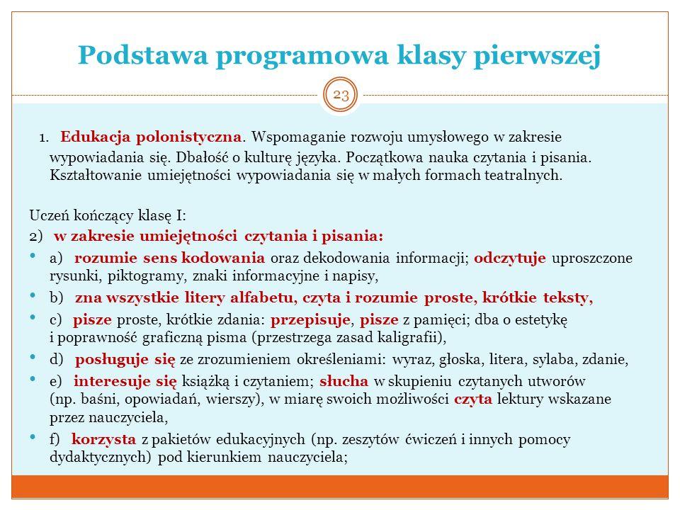 Podstawa programowa klasy pierwszej 1. Edukacja polonistyczna. Wspomaganie rozwoju umysłowego w zakresie wypowiadania się. Dbałość o kulturę języka. P