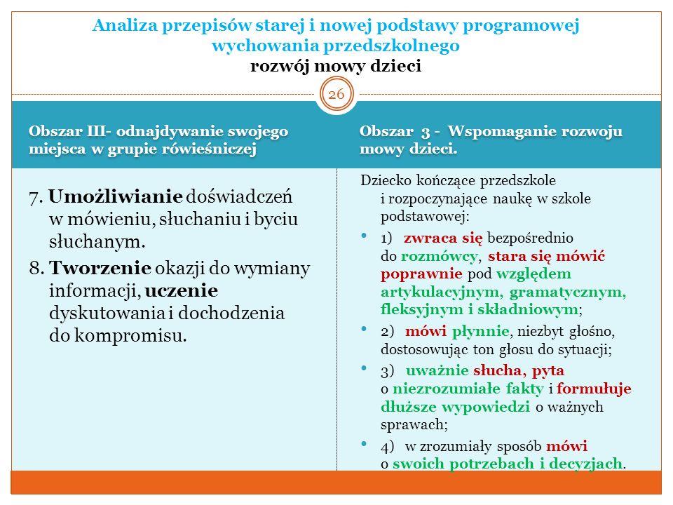 Obszar III- odnajdywanie swojego miejsca w grupie rówieśniczej Obszar 3 - Wspomaganie rozwoju mowy dzieci. 7. Umożliwianie doświadczeń w mówieniu, słu