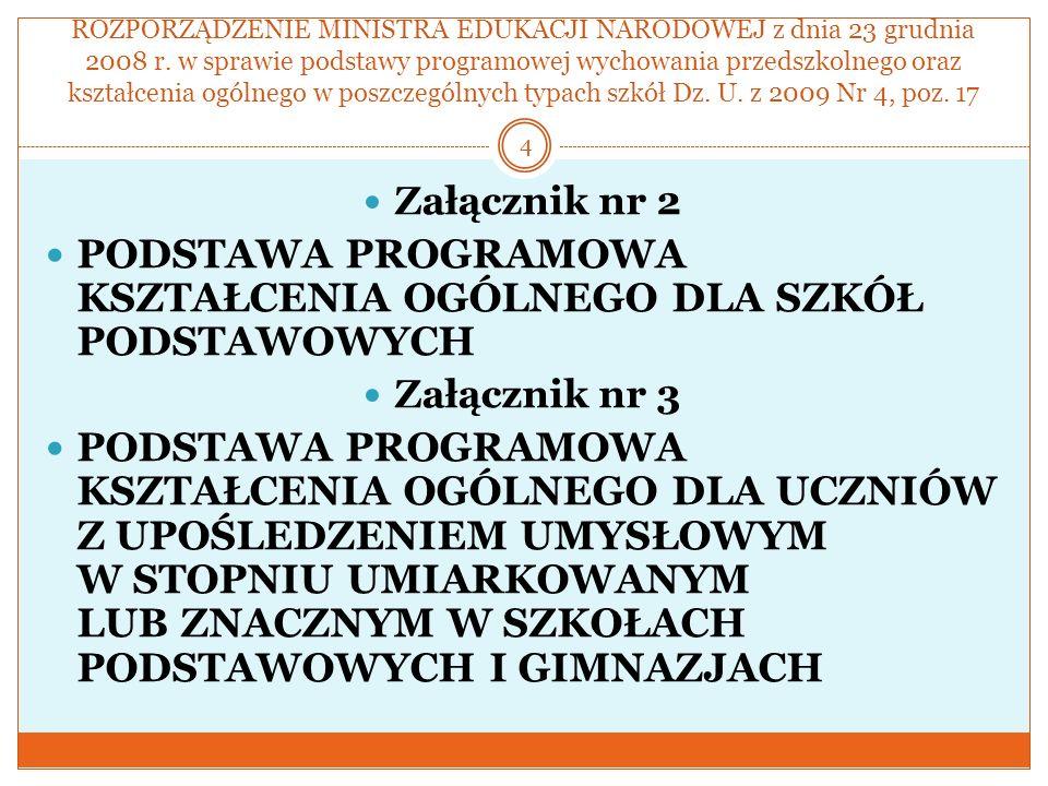 ROZPORZĄDZENIE MINISTRA EDUKACJI NARODOWEJ z dnia 23 grudnia 2008 r. w sprawie podstawy programowej wychowania przedszkolnego oraz kształcenia ogólneg