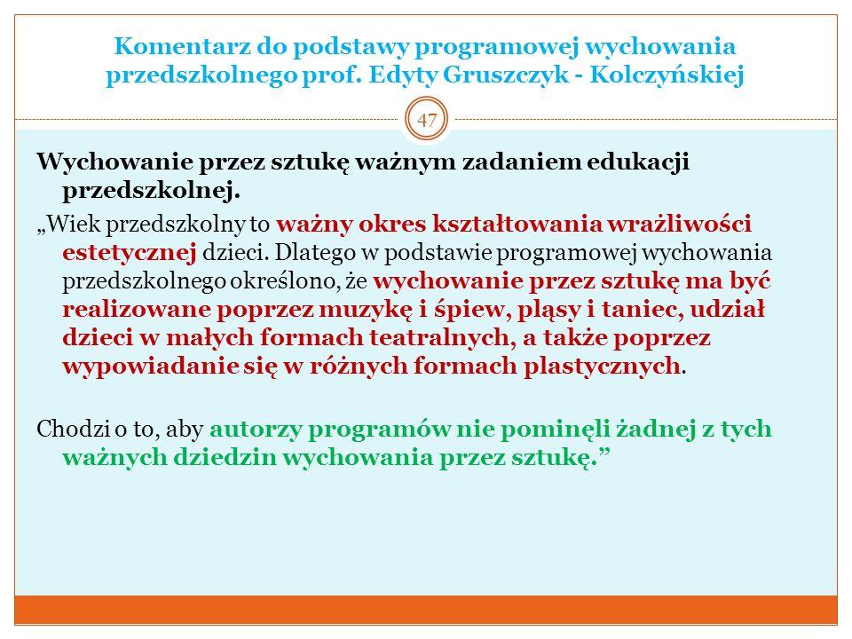 Komentarz do podstawy programowej wychowania przedszkolnego prof. Edyty Gruszczyk - Kolczyńskiej Wychowanie przez sztukę ważnym zadaniem edukacji prze